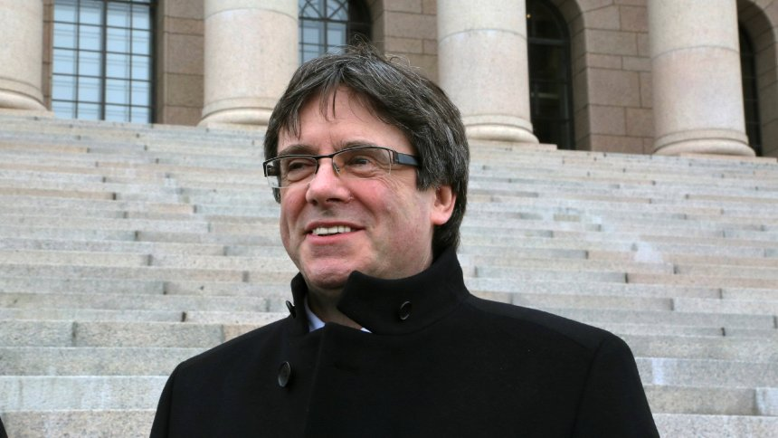 Catalan former President Carles Puigdemont poses during his visit to Helsinki after an invitation by