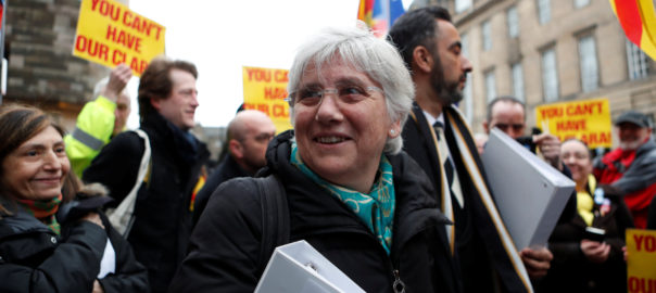 Catalunya's former Education Minister Clara Ponsati arrives for a preliminary hearing for her extradition at the Sheriff Court in Edinburgh